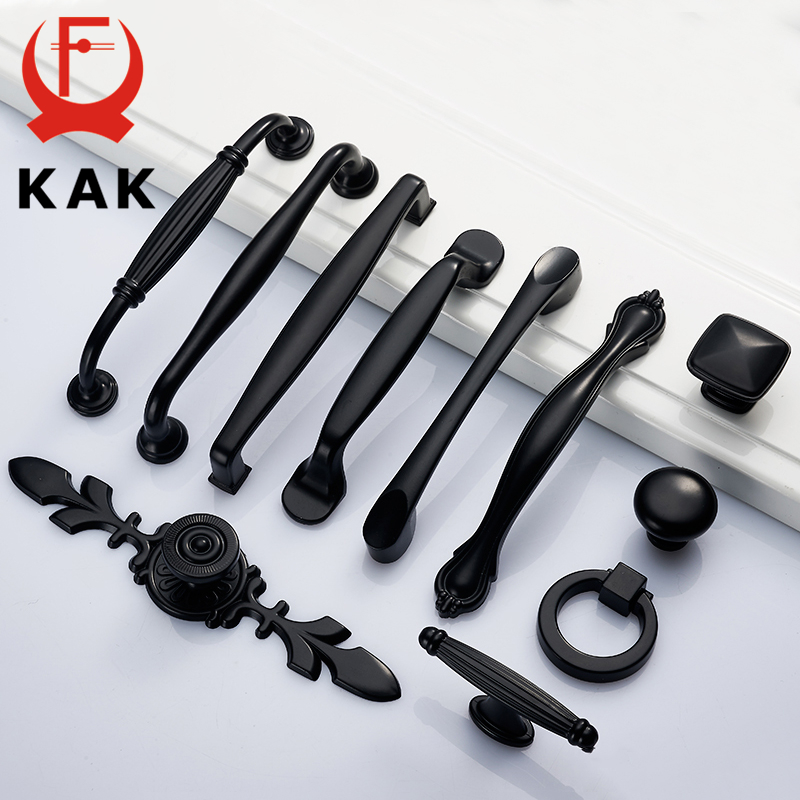 KAK Zinc Alloy Black Cabinet Handles American style Kitchen Cupboard Door Pulls Drawer Knobs Fashion Furniture Handle Hardware