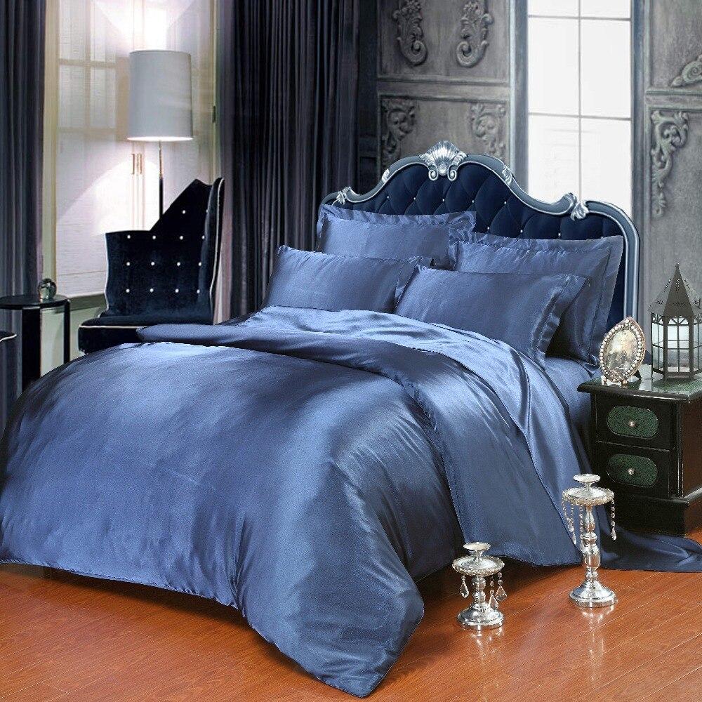 Blue Colored Silk Cotton Bedding Sets Quilt Duvet Covers
