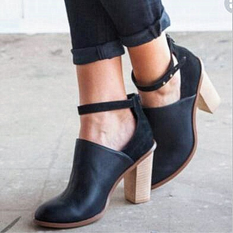EOEODOIT  Women Pumps High Square Block Heel Leather Shoes Spring Autumn Ankle Buckle Deep Mouth Heels Boots Shoes Plus Size 43