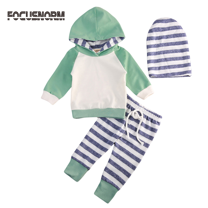 New Casual Newborn Toddler Baby Boy Girl Hooded Sweater Tops+Striped Pants Outfits Set Clothes
