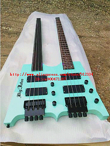 цена на free shipping new Big John double neck headless electric bass guitar with rosewood fingerboard  SN-1