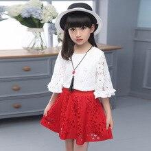 Новый Летняя Мода Девушки Милая Леди Юбка-рубашка Кружева Из Двух Частей Костюм Платье Дети Одежда Устанавливает Белый Красный