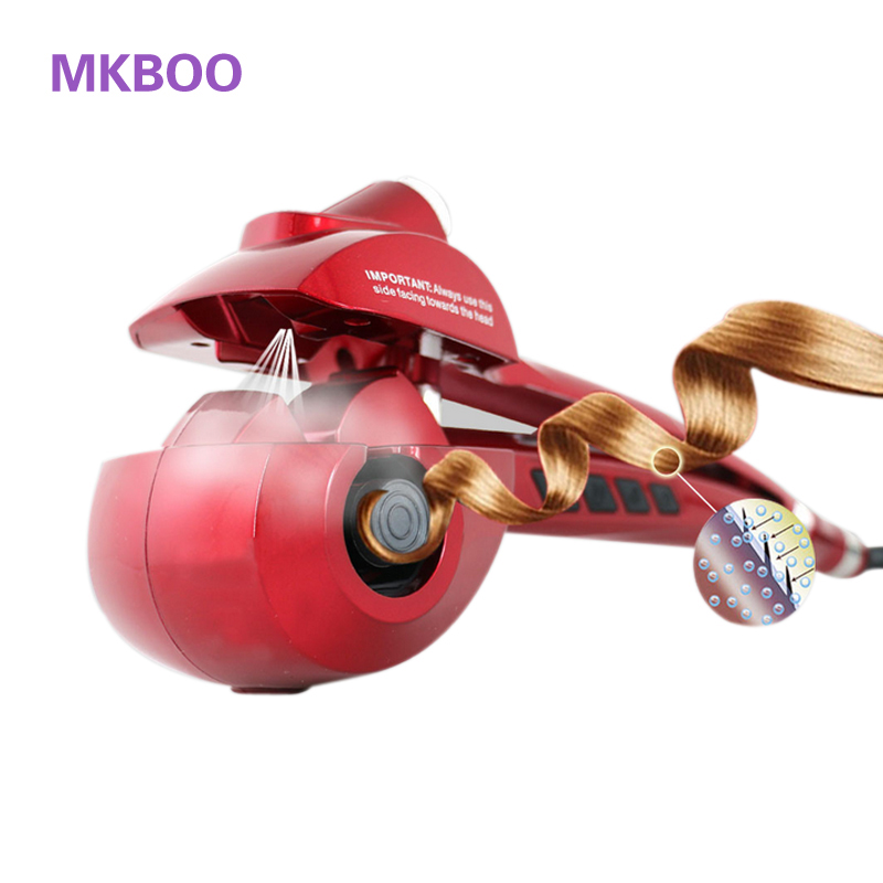 MKBOO Electric salon styling tools Hair curler Hair curler irons Curling wand Hair curling iron Rotating curling iron EU US Plug 2017 new hot sale professional salon ptc heating white color ceramic negative ions steam automatic hair curler hair style tools