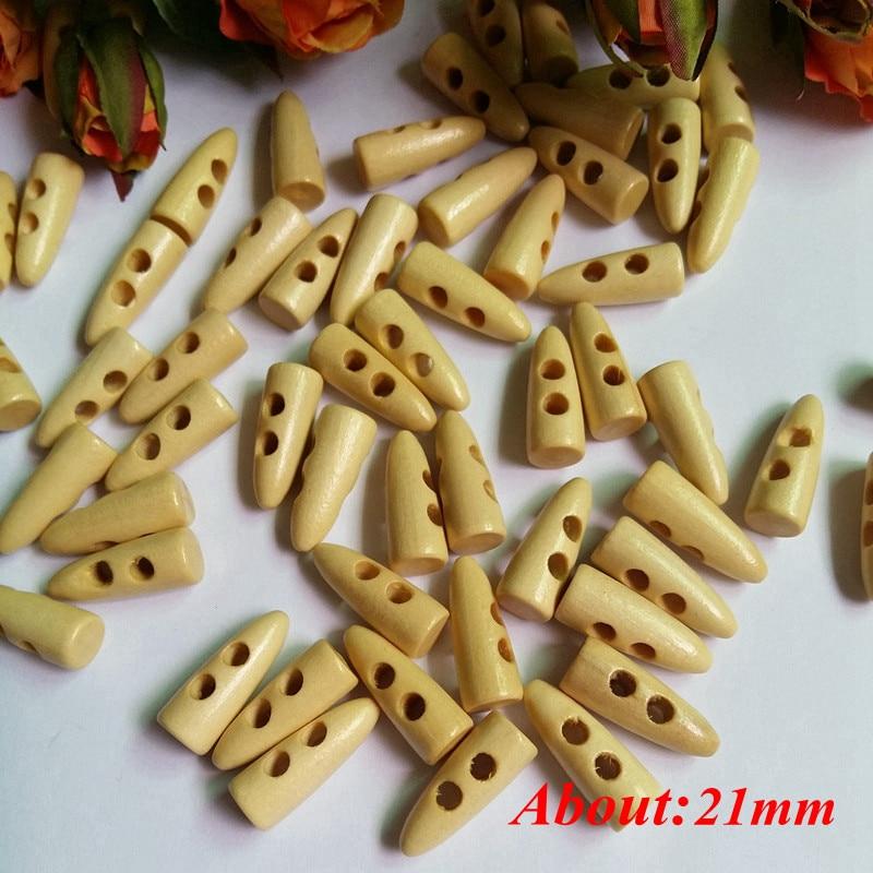 50 штук 21 мм из натурального дерева цвет деревянные пуговицы шип Форма Длинные два отверстия кнопки для большого вещевого пальто