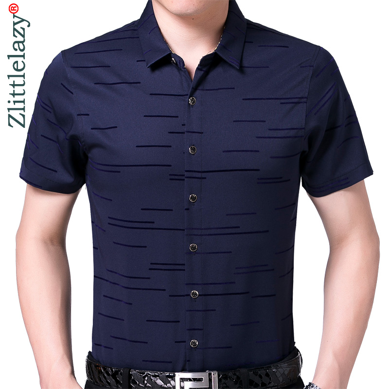 2019 New Summer Short Sleeve Men Shirt Striped Dress Casual Slim Fit Social Clothes Luxury Shirts Mens Fashion High Quality 6006