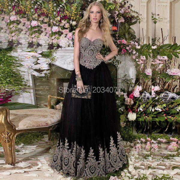 Vestidos de formatura Glitter Black Prom Dress Gold Appliques ...