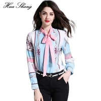 2017 Spring Summer Long Sleeve Women Shirts Lace Up Bow Tie Floral Print Chiffon Blouse Ladies Office Shirt Women Summer Tops