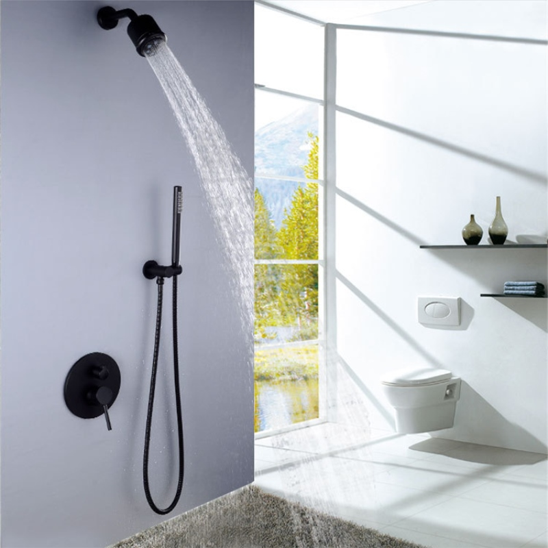 Fixed Rain Shower Head Multi-function Hand held Black Wall Mount Shower Faucet Brass Bathroom Shower Set Thermostatic