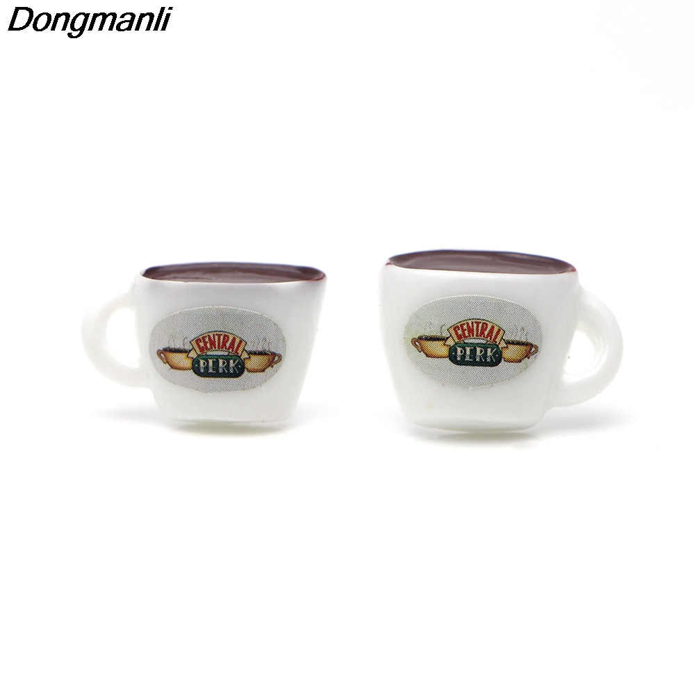 P2469 Dongmanli Friends TV Show Ear Stud Earrings For Womens Acrylic coffee cup earrings Jewelry Gifts for Friends jewelry