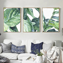 Nordic Modern Minimalist Ink Green Plant Painting Banana Leaves Bedroom Living Room Decoration Painting Sofa Wall Picture Poster modern style leaves ink painting pattern square shape pillowcase