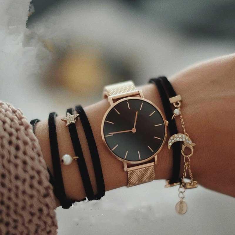 Mode Große Marke Frauen Edelstahl Band Quarz Armbanduhr Luxus