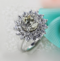 Brand New Original 2 Carat SONA Synthetic Diamond Fashion Ring 925 Sterling Silver Flower Shape Ring