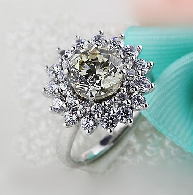 original 2 carat SONA synthetic diamond fashion ring 925 sterling silver flower shape ring US size from 4 to 10.5 (DFE)