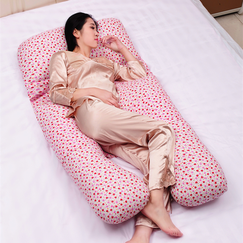 Sweet Strawberry Printed Soft Removable Pregnancy Pillow 22 Colors Body Pillow For Women Multifunctional U Style Waist Pillow