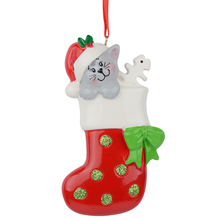 Resin Glossy Kitty Stocking Personalized Christmas Ornaments Used For Holiday Keepsake Gifts and Home Decor