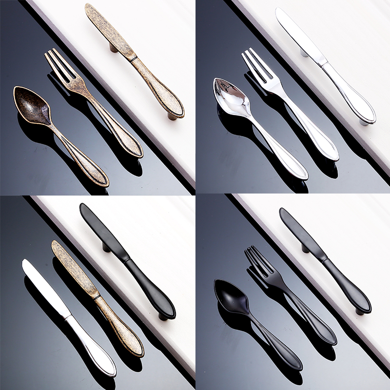 Furniture Accessories Silver Bronze Black Spoon Knife Fork Handles Kitchen Cabinet Cupboard  Drawer Knob Pulls 76mm Hole Spacing black european simple kitchen cabinet door handles drawer cupboard vintage pulls knobs furniture accessories knob 96 128mm