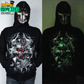 Luminous Sweatshirt Neon Outerwear Male Top Mask The Counterterrorism Zipper Luminous Hooded Clothing For 2016 Spring And Autumn