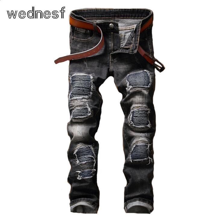 ФОТО #1949 2017 Grey color Punk Fake designer clothes Ripped jeans for men Skinny Mens biker jeans Pantalon homme Motorcycle jeans