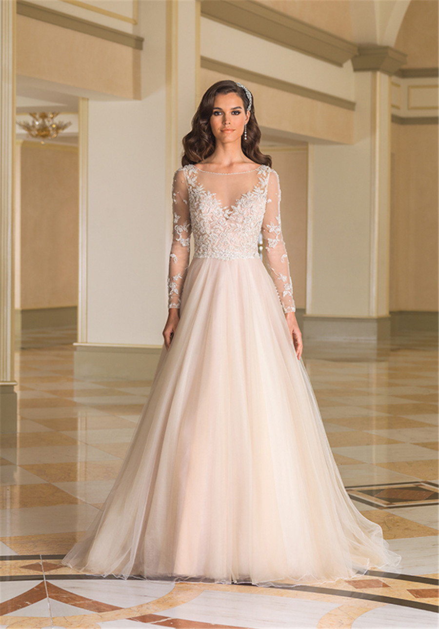 Sabrina Neckline Pearl And Crystal Adorned Dodice Illusion Long Sleeves Wedding Dress 8873 With Color Champagne Bridal Gown In Dresses From