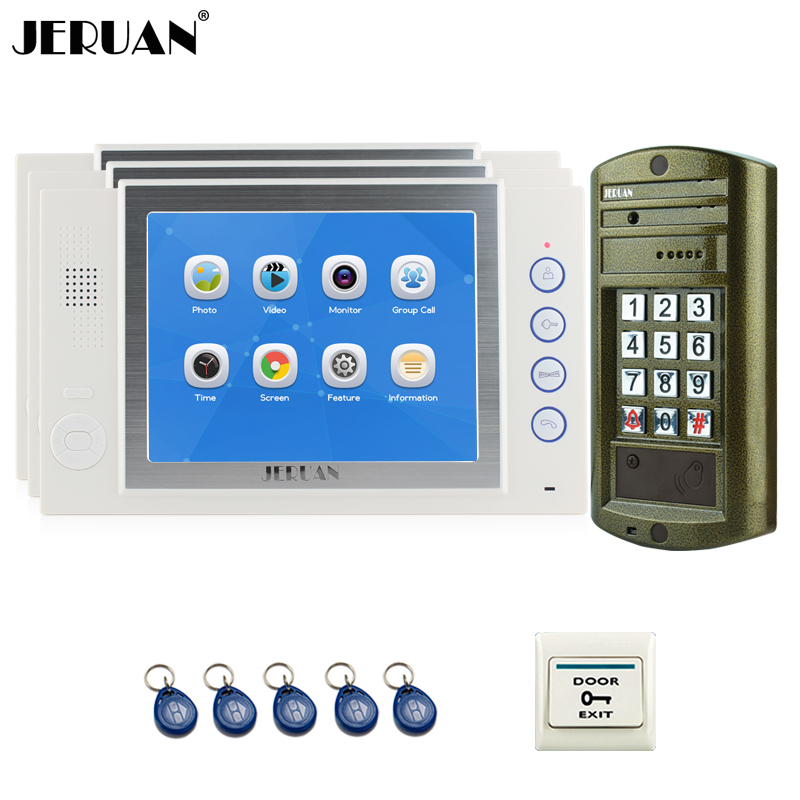 JERUAN 8 inch Video Intercom Door Phone System kit 3 Record Monitor + NEW Metal Waterproof Access Password HD Mini Camera 1V3 jeruan wired 7 inch video doorbell intercom door phone system kit new metal waterproof access password keypad hd mini camera 1v3
