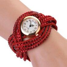New Fashion Women's Vintage Rhinestone Weave Wrap Multilayer Leather Bracelet Wrist Watch PT