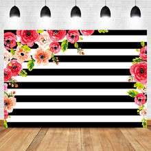 NeoBack Watercolor Flower Birthday Party Photography Backdrops Red Floral Black White Stripe Background for Photo