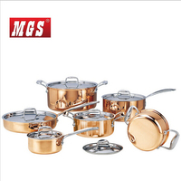 High grade Copper 6 Peices Cooking Pots With Frying Pan Stainless Pot Hot Pot And Pans Cookware Set
