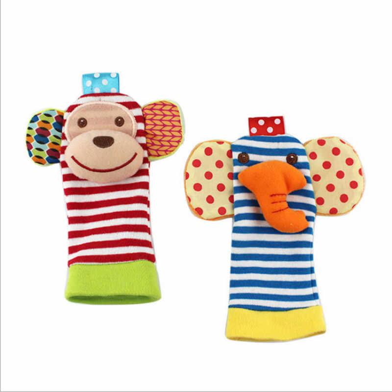 ZWX096-1 Wrist Rattle And Socks Pé Do Bebê Chocalho Animais Sino Brinquedo Sino de Mão Brinquedo Chocalho Do Bebê da Criança Dos Desenhos Animados Animal de Pelúcia brinquedo infantil