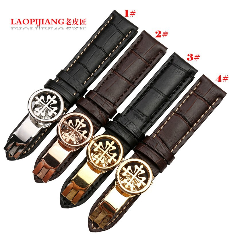 New Style 18mm 19mm 20mm 21mm 22mm New Black Brown Genuine Leather Watchband Watch Band Strap Bracelets With White thread meifeier 407 women s fashionable knitted chiffon blouse apricot l