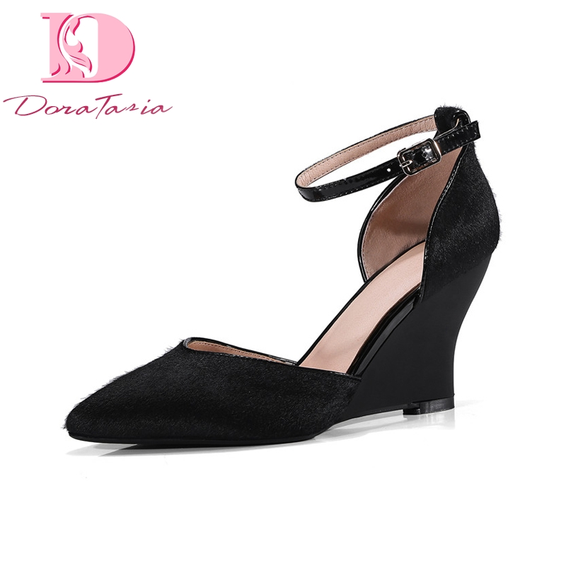 DoraTasia new women horsehair solid wedges ankle strap cover heel shoes woman casual summer sandals big size 34-43 ribetrini women hot sale cow leather low heel wedges summer casual shoes woman ankle strap open toe platform sandals size 34 39