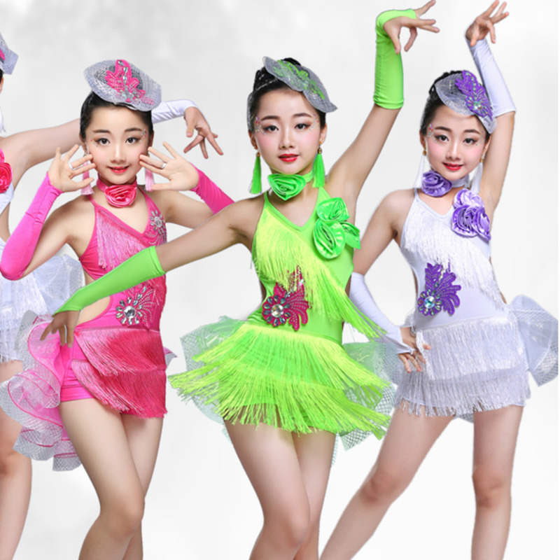 latin flamenco ballroom dance competition dresses for girls sequin tassel salsa rumba tango samba cha cha kids children costumes