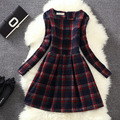 Autumn dress 2015 new women's European leg plaid long-sleeved dress  bottoming winter