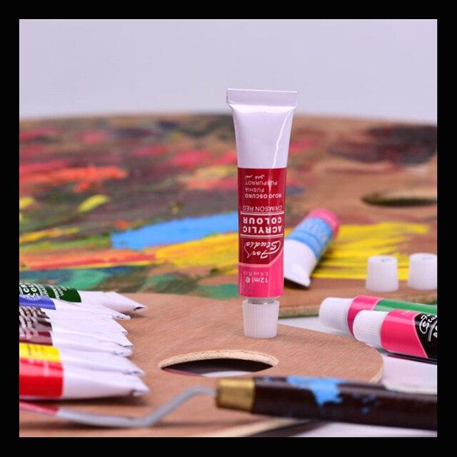 12 Couleurs 12 Ml Peinture Acrylique Ensemble Couleur Nail Glass Art