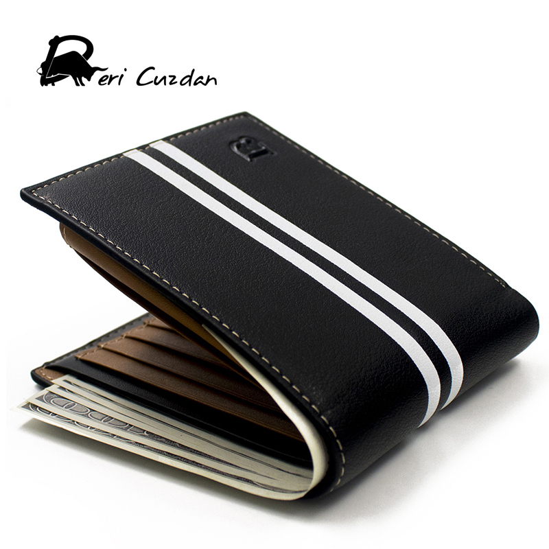 DERI CUZDAN HOT Fashion Brand Wallet Men Leather Mens Wallet Male Purse Short Card Holder Designer Wallet Black Vallet for Men