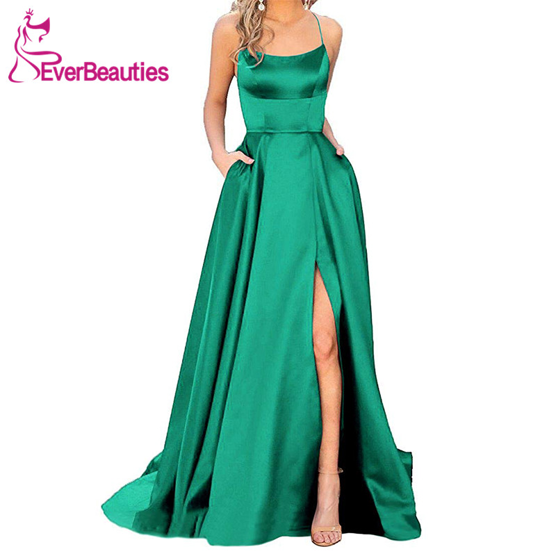 Green Evening Dress 2019 A Line Satin with Spaghetti Straps Long Prom Party Dress Side Split Abendkleider Evening Gowns