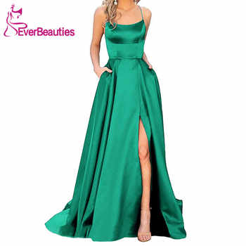 Green Evening Dress 2019 A Line Satin with Spaghetti Straps Long Prom Party Dress Side Split Abendkleider Evening Gowns - DISCOUNT ITEM  40% OFF All Category
