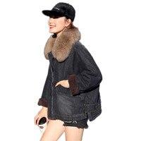 Женская джинсовая куртка весна новый темперамент свободные лисы большой меховой воротник пальто качество сплошной цвет утолщаются плюс ба