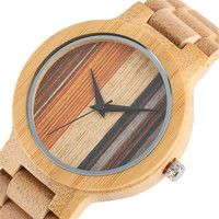 Fashion Wooden Watch Male 2017 European Style Dial Luxury Wood Strap Quartz Wristwatch Japanese Movement Bamboo