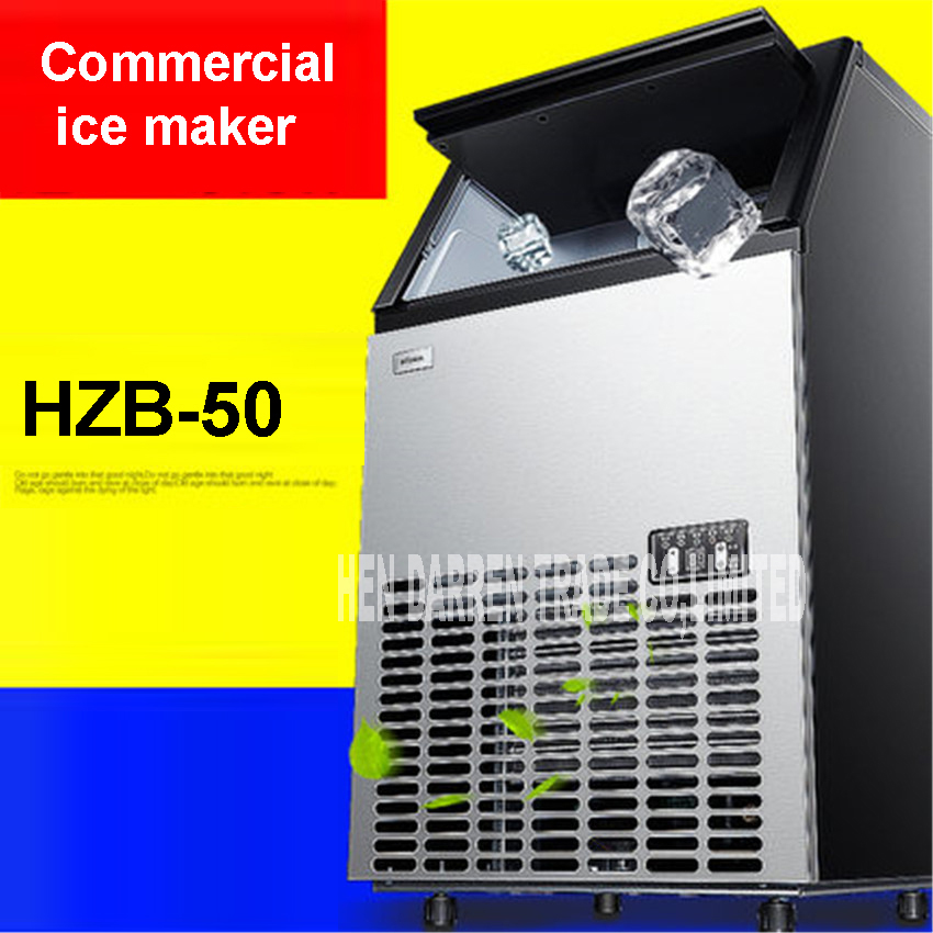 HZB-50 HOT 50kgs/24 H Automatic <font><b>Ice</b></font> <font><b>Maker</b></font>, <font><b>Ice</b></font> Cube family making machine for commercial use for coffee shop bar Stainless steel