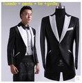 Caliente venta del nuevo hombre de la boda vestido de traje moda delgado coreano marea trajes de la etapa padrinos de boda smoking vestido negro