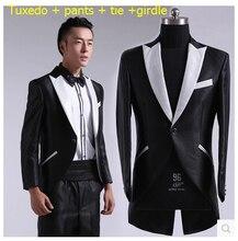 Hot sale new Men's wedding dress suit fashion Slim Korean tidal stage costumes groomsmen tuxedo black dress