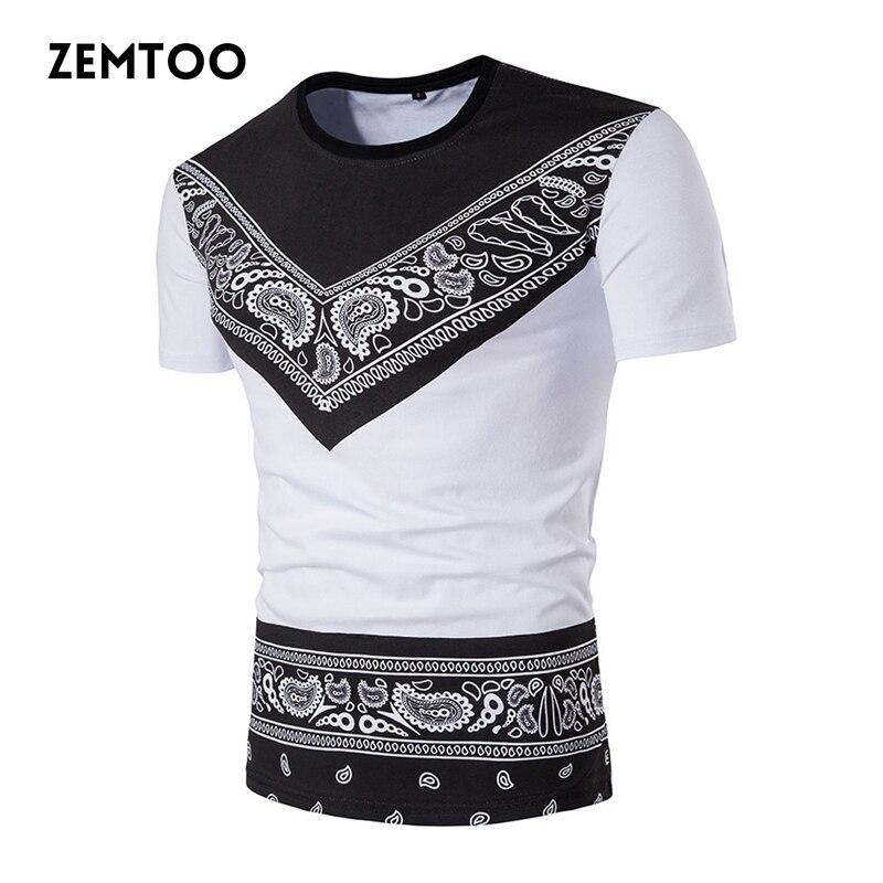 zemtoo Brand Men's Fashion Casual T shirt 3D printed Mens Slim Fit Cotton Short Sleeve Tee Tops Camisa Slim Male T-shirts ZM0115