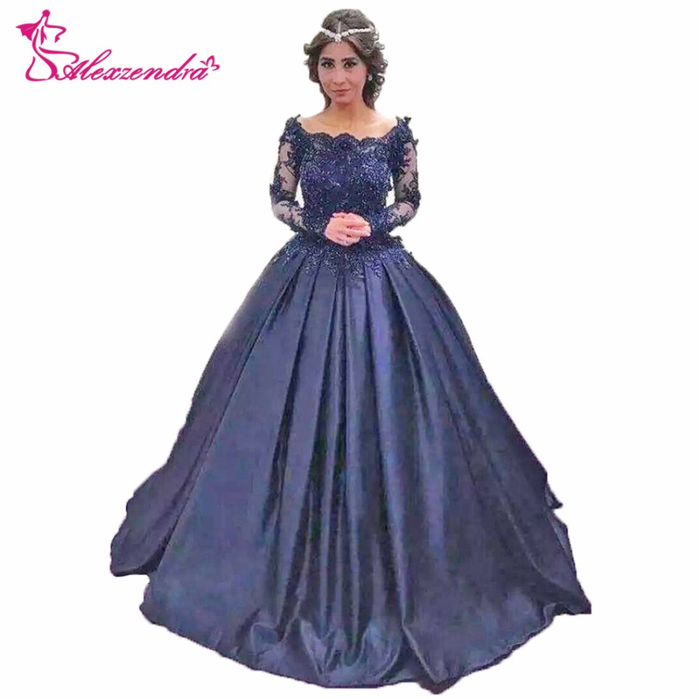 Alexzendra Navy Blue Ball Gown Evening Dress with Long Sleeves ...