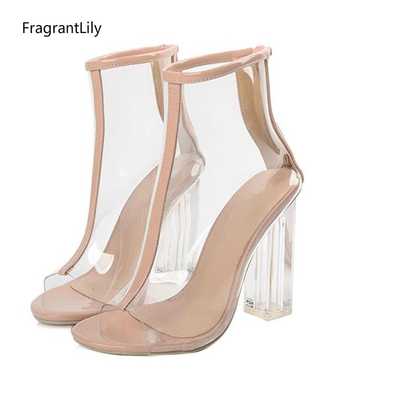 FragrantLily 2018 Europe Spring summer new hot women pumps sexy high heels shoes Transparent crystal cool boots sandals woman new listing hot sales summer fashion brand sexy women fish mouth high heels sandals women shoes pumps height 9cm 3603