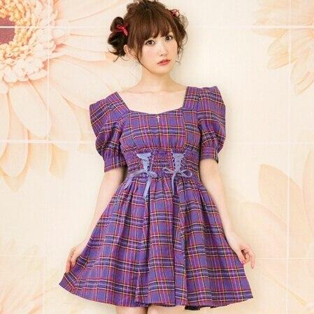 Japanese Liz Lisa Checked Cross Retro Shoulder Dress