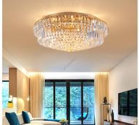 Free Shipping Golden Ceiling Light Fixture Modern Clear K9 Crystal LED Ceiling Lamp Round Flush Mounted Lighting Fitting Lustres