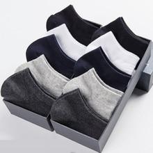 10 Pairs / Lot Cotton Short Socks For Men Summer Thin Solid Black White Boat Socks Men's V