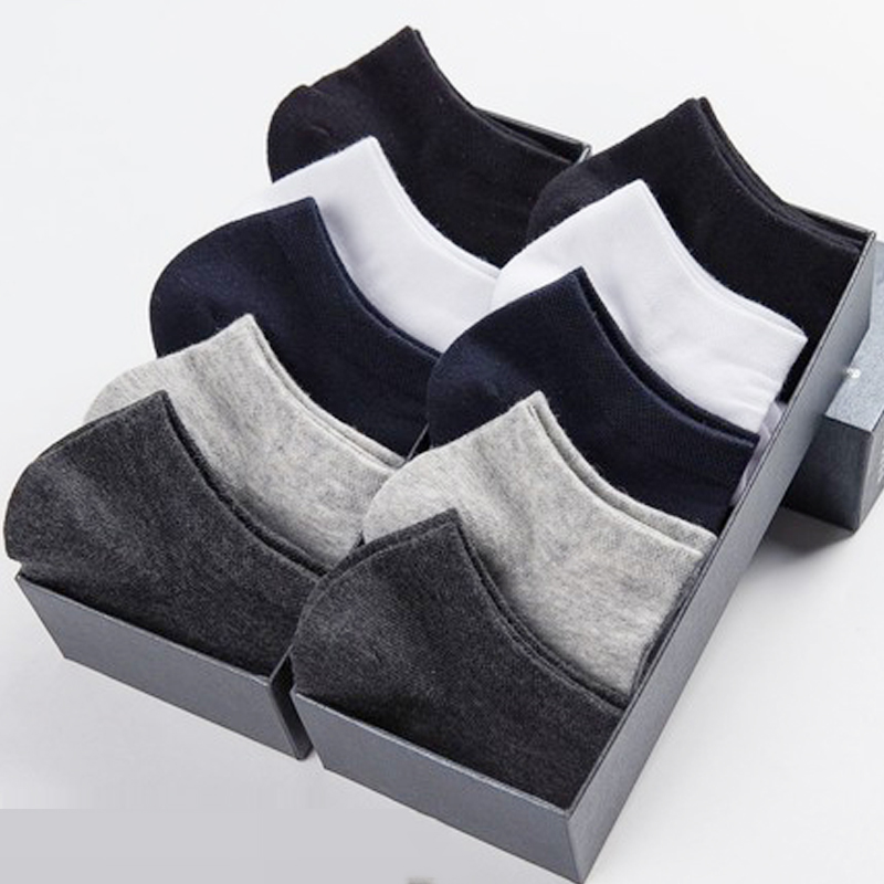 10 Pairs / Lot Cotton Short   Socks   For Men Summer Thin Solid Black White Boat   Socks   Men's Versatile Shoes Clothes Sox Size 39-43