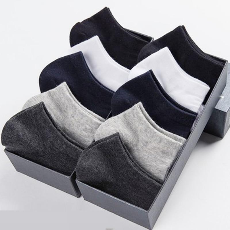 10 Pairs / Lot Cotton Short   Socks   For Men Summer Thin Solid Black White Boat   Socks   Men's Versatile Shoes Clothes Sox Size 39-43