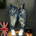 Новый 2016 весенняя мода марка дети джинсы краска отверстие дети гарем брюки 100% хлопок мальчиков джинсовые девушки брюки Бесплатно доставка